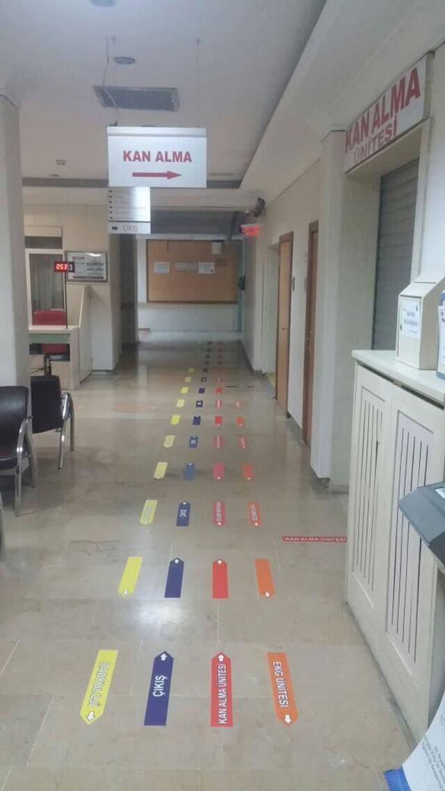 Hastane şerit yönlendirme