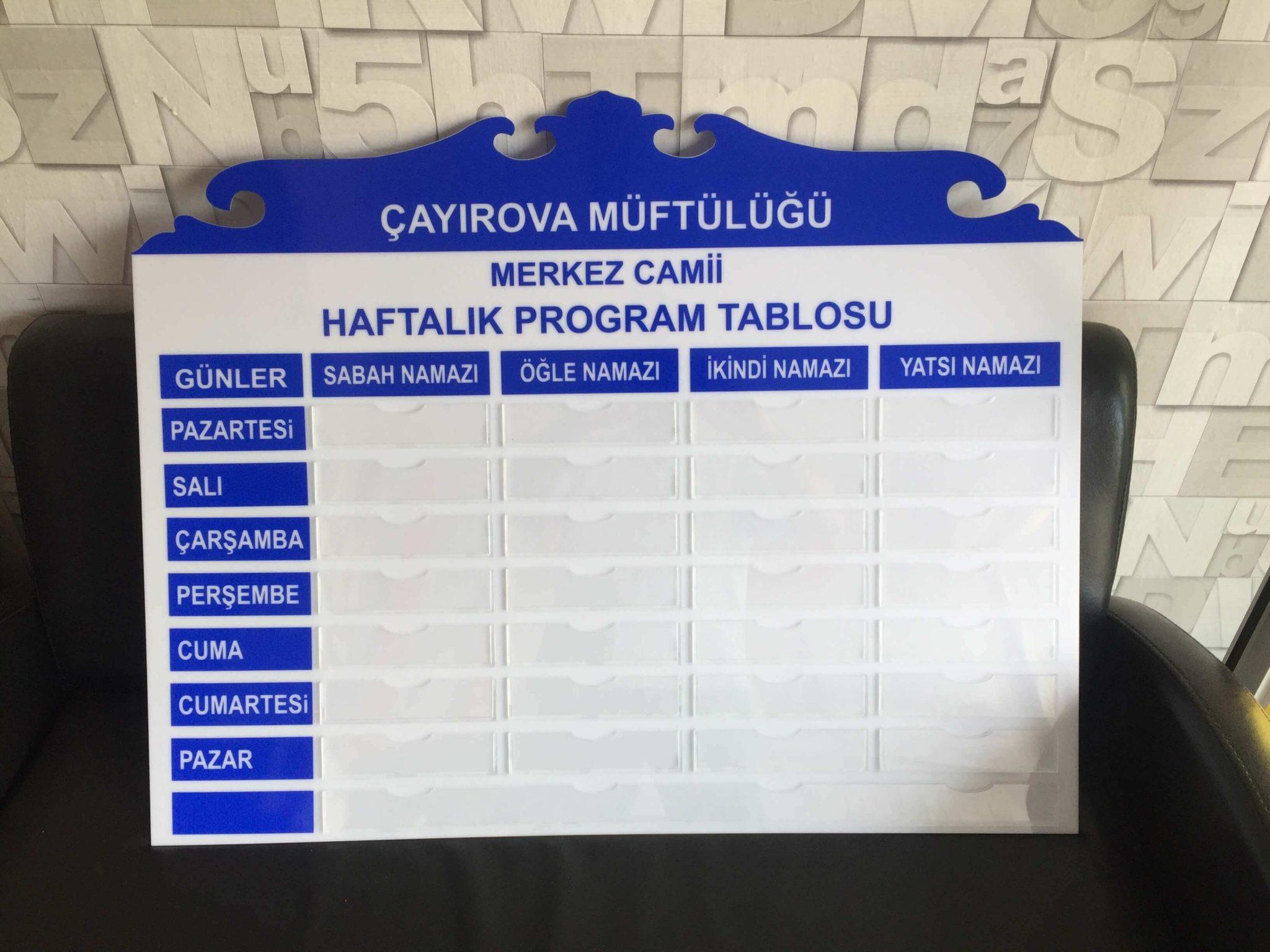 Haftalık Program Tablosu
